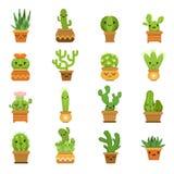 Plantas de desierto lindas Cactus en potes, mascota de la historieta del vector con diversas emociones libre illustration