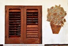 Plantas de la ventana y del mármol Fotografía de archivo