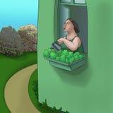 Plantas de riego de la mujer ilustración del vector