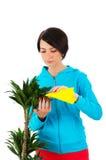 Plantas de riego de la mujer joven aisladas Foto de archivo