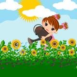 Plantas de riego de la niña ilustración del vector