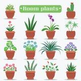 Plantas decorativas del sitio en Clay Pots Illustrations Imagenes de archivo