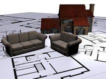 Plantas do sofá e da casa   Imagens de Stock