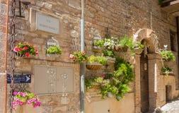 Plantas e flores em uns potenciômetros em ruas estreitas da vila antiga de Spello, Úmbria, Itália Foto de Stock