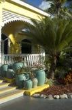 Plantas em uns potenciômetros na frente do hotel Imagem de Stock Royalty Free