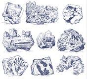Plantas fosilizadas, piedras y minerales, cristales, animales prehistóricos, arqueología o paleontología fósiles del fragmento stock de ilustración