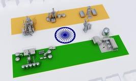 Plantas industriales en la bandera la India ilustración del vector