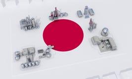 Plantas industriales en la bandera Japón libre illustration