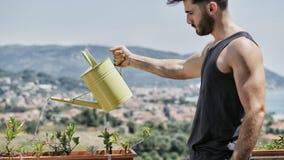 Plantas molhando de homem novo no balcão do apartamento imagens de stock royalty free