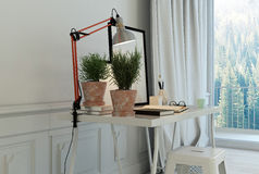 Plantas na mesa com o tamborete na sala branca Fotos de Stock