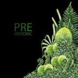 Plantas prehistóricas de la acuarela Imagenes de archivo