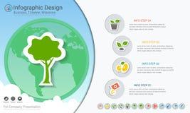 Plantas que crecen infographics de la cronología con los iconos fijados ilustración del vector
