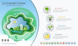 Plantas que crescem o infographics do espaço temporal com os ícones ajustados ilustração royalty free