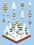 Plantas simples isométricas fijadas - Forest Winter boreal stock de ilustración