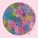 Plantas suculentas en el círculo Ejemplo suculento dibujado mano del vector del grupo de las flores libre illustration