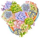 Plantas suculentos, cacto e pena na forma de um coração Fotografia de Stock Royalty Free