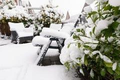 Plantas y sillas de jardín debajo de la nieve Fotografía de archivo