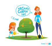 Plantation de l'arbre avec des enfants pigeons de paix d'eco de concept Usines d'arrosage de fille dans le jardin S'engager en ac illustration stock