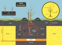 Plantation de l'illustration de vecteur de concept d'arbre Préparez le sol pour l'usine Photographie stock