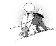 Plantation de thé Le paysan de Chinois de récolte illustration libre de droits
