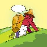 Plantation de thé Le paysan de Chinois de récolte illustration de vecteur