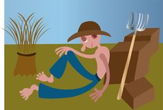 Tired Farmer in the fields royalty free stock image