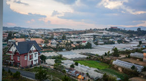 Plantations at Lam Vien highland in Dalat city, Vietnam. Plantations with many houses on Lam Vien highland in Dalat city, Vietnam Stock Photo