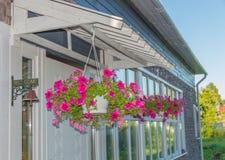 Plantatorzy z kwiatami zobaczyli przy wejściem Zdjęcie Stock