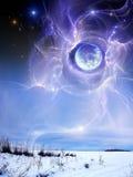 Planète au-dessus de la terre, l'hiver Images stock