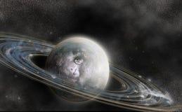 Planète avec le système d'anneau Photographie stock