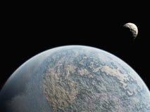 Planète et petite lune Photographie stock libre de droits