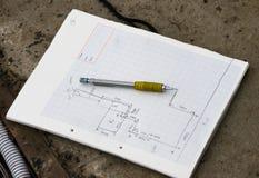 Planteckning och blyertspenna Arkivbilder