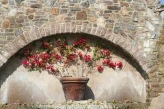 Planter. Decorative waterfall planter with bricks and bougainvillea Stock Photos