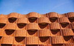 Planter blocks as retaining wall. Stock Photo