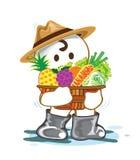 Planter med frukt- och grönsakkorgen Arkivfoton
