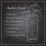 Planter Punch cocktail on black board Stock Photos