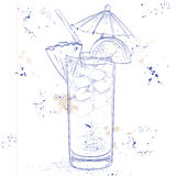 Planter Punch cocktail on a notebook page Royalty Free Stock Photography