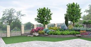 Plantera för främre gård av grönska, tolkning 3d Royaltyfri Bild
