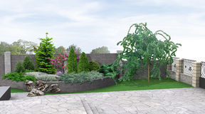 Plantera för främre gård av grönska, tolkning 3d Royaltyfria Bilder