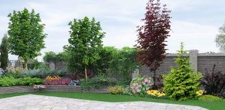 Plantera för sidogård av grönska, tolkning 3d Arkivbilder
