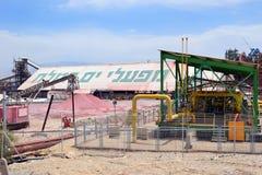 Plantera för tillverkning av mineraliska gödningsmedel, det döda havet, Israel Royaltyfria Foton