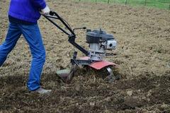 Plantera potatisar under gå-bak traktoren Arkivfoton