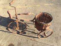 Planters bike/vintage. Vintage bike/planter curbside Royalty Free Stock Photography