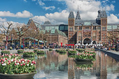 Planters filled with tulips  in the pond during the Tulip Festival in Amsterdam Royalty Free Stock Photos