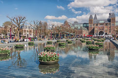 Planters filled with tulips  in the pond during the Tulip Festival in Amsterdam Stock Photos