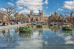 Planters filled with tulips  in the pond during the Tulip Festival in Amsterdam Stock Photography
