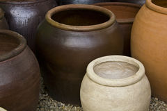 Planters for flowers. Ceramics, colorful pots for flowers with different textures and different forms Stock Images