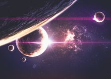 Planètes au-dessus des nébuleuses dans l'espace Photo libre de droits