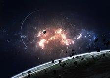 Planètes au-dessus des nébuleuses dans l'espace Photo stock