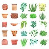 Plantes d'intérieur d'aquarelle dans des pots réglés Images stock